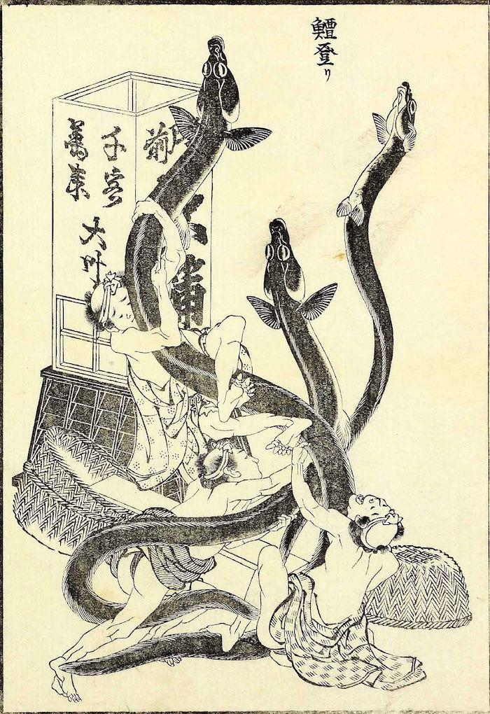 鰻登り(葛飾北斎画)